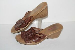 Connie Waverly Slide Wedge Sandals, Brown, Leather, Womens US Size 6