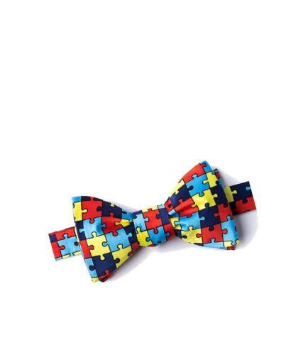 Men/'s Help Spread Autism Awareness Puzzle Symbol Butterfly Self Tie Bow Tie