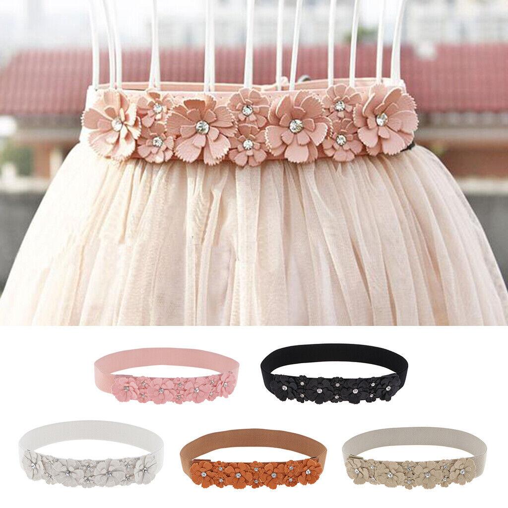 Elastic Floral Waistband for 1.5 '' Women's Dress Belt
