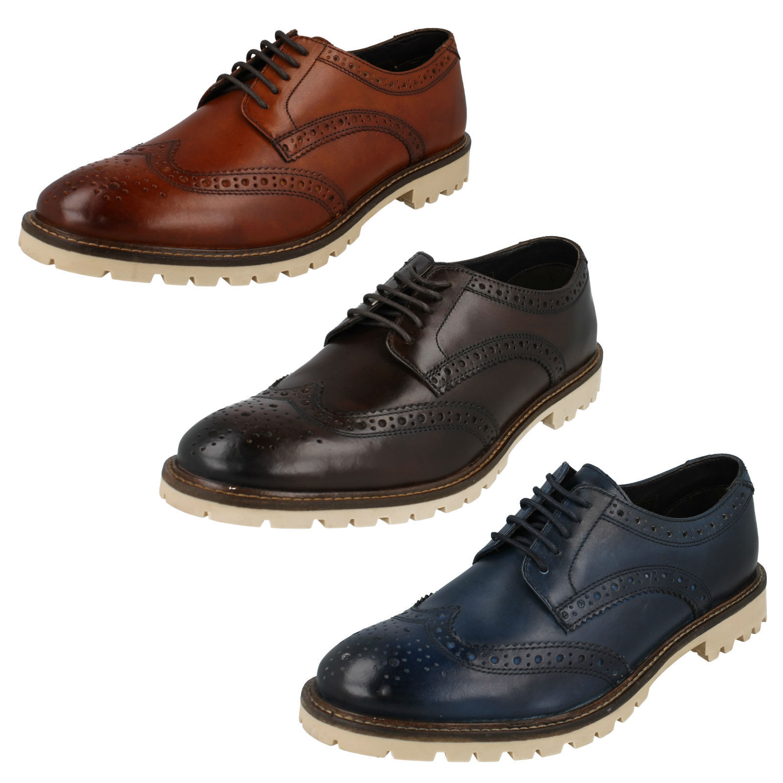 0a2833d67 MENS BASE LONDON RAID BROGUE LACE UP SMART FORMAL WORK OFFICE LEATHER SHOES