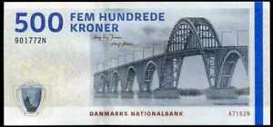 DENMARK 500 KRONER 2010 (2016) P 68 SIGN JENSEN & SORENSEN UNC