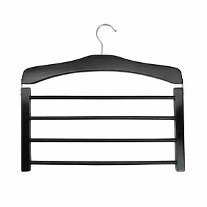 1-Wooden-Trouser-Hanger-Multi-Hangers-4-Trousers-Space-Saving-Clothes-Black