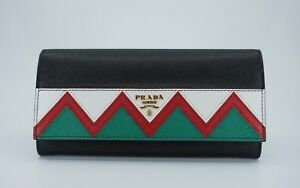 0849e812af3a Image is loading Prada-Saffiano-Leather-Greek-Key-Motif-Continental-Flap-