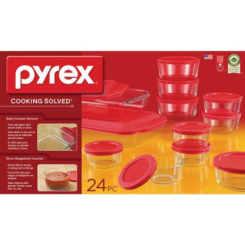PYREX 24 PIECE GLASS BAKE N' STORE SET NEW