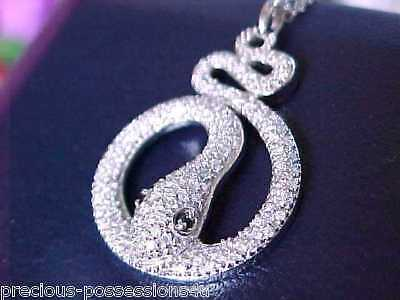 $3,038 TRENDY CHIC! 14K DESIGNER SB 143 WHITE/BLACK PAVE DIAMOND SNAKE PENDANT