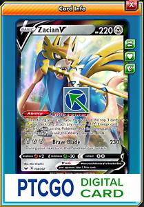 Fast In-Game Delivery 1x Pokemon PTCGO Zacian V 138//202 Online Digital Card