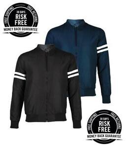 New-Mens-Designer-Bomber-Jacket-Summer-Harrington-Coat-Collar-Neck-Zip-Striped