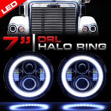LED Headlights Black Headlamp Halo Angle Eyes for Freightliner CORONADO