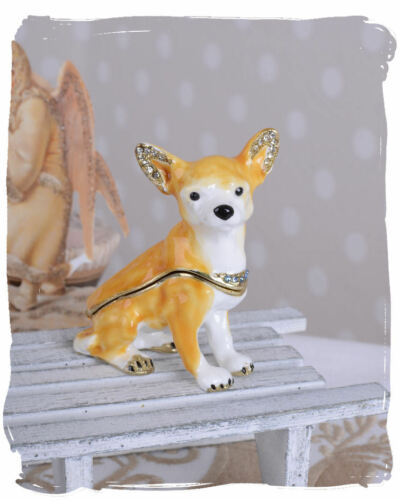 Tierische Pillendose Hundefigur Chiwawa Schmuckdose Box Schatulle Hund