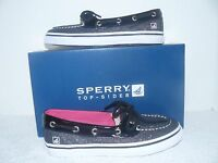 Sperry Top Sider Biscayne 1 Eye Youth Girls Black Sparkle Shoes
