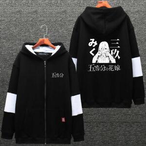 Go No Miku de negro con abrigo capucha manga grueso larga sudadera Hanayome Harajuku Toubun Nakano r5qtxRrf