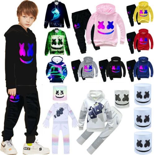 Kids DJ Marshmallow 3D Hoodie Sweatshirt Jumper Pants 2020 Party Cosplay Outfits