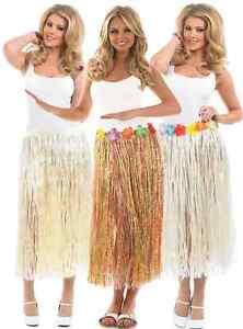 0dd978168be Ladies Hawaiian Hula Girl Long Grass Skirt Fancy Dress Costume 24-50 ...