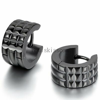 Men's Fashion Stainless Steel Charm Classic Black Wide Hoop Huggie Earrings 2PCS