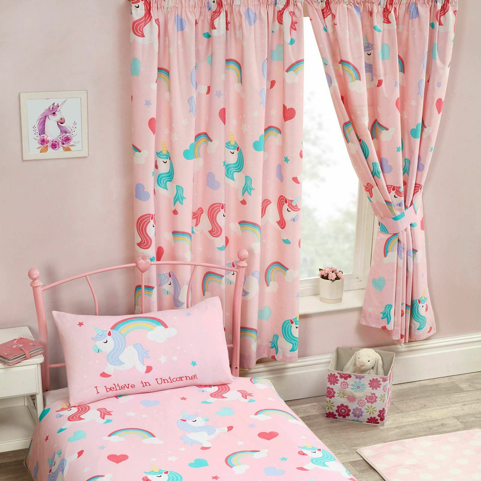 I BELIEVE IN UNICORNS PINK CURTAINS LINED 66\