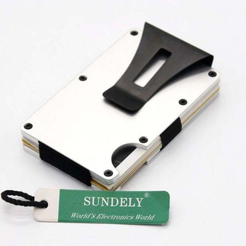 Mens Metal Wallet Steel Carbon Fiber Credit Card Holder RFID Money Clip Purse UK