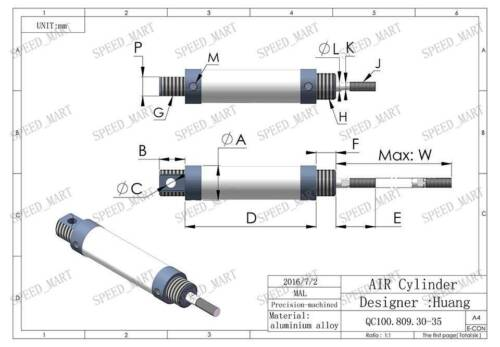 MAL16x75-CA Mini Pneumatic Air Rod Cylinder with 75mm Stroke Inner Dia 16mm
