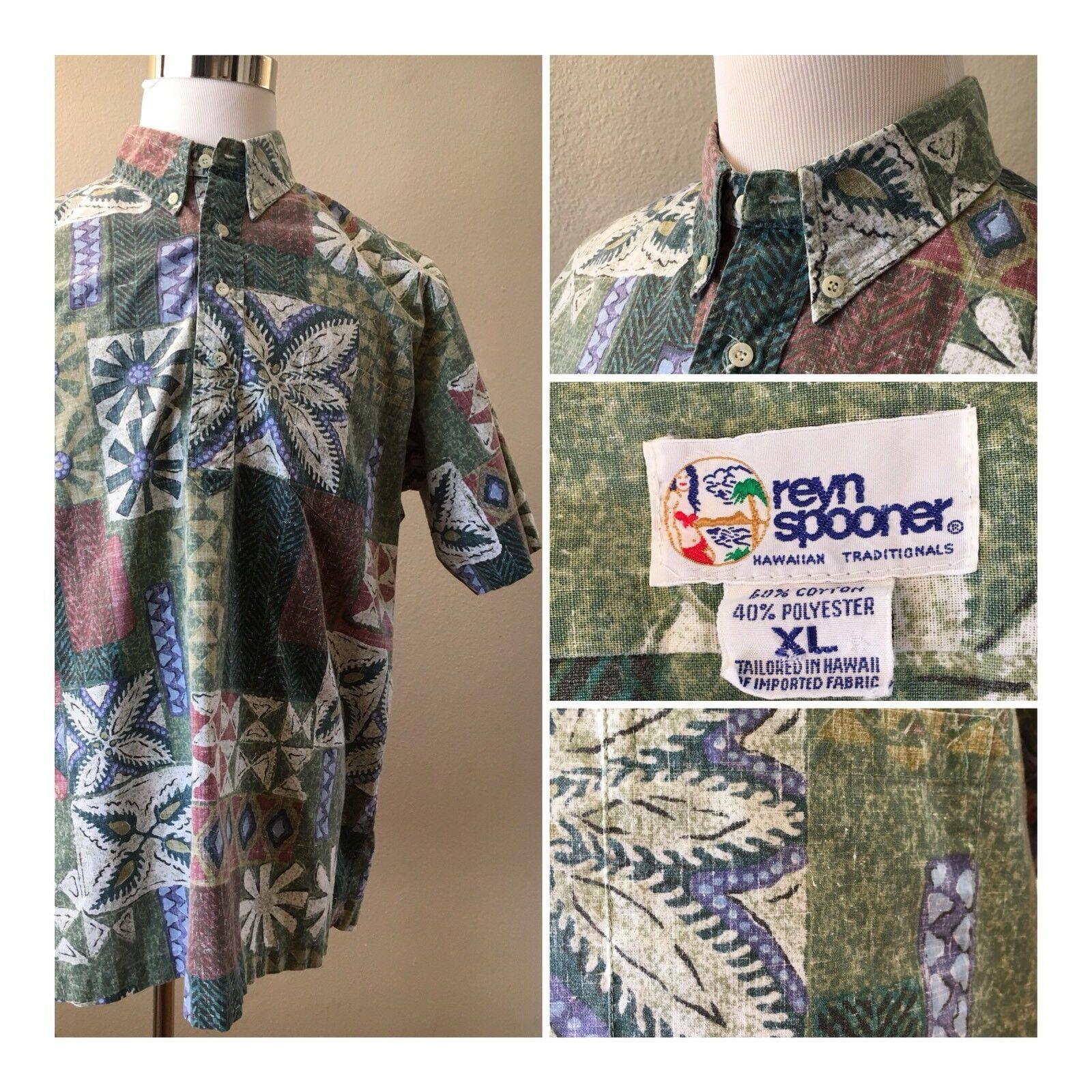 Reyn Spooner  Mens XL Shirt Four Button bluee Green Geometric Hawaiian Aloha