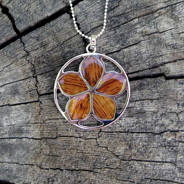 Koa Wood Hawaiian 28mm Plumeria Flower Rhodium Silver Plated Brass Pendant