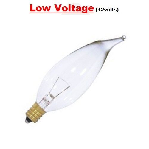 BNB 7W 12V LOW VOLTAGE E12 BASE CLEAR INCANDESCENT TORPEDO BULB PACK OF 25