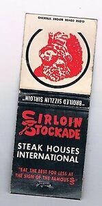 Details about Sirloin Stockade Front Striker Matchbook Cover Oklahoma City  Franchises