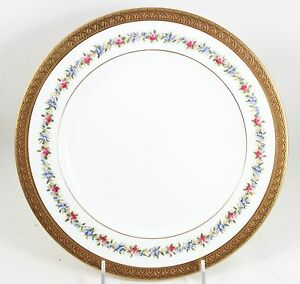 2 ANTIQUE COALPORT CHINA 4148 DINNER PLATES RAISED GOLD ENCRUSTED FLORAL WHITE