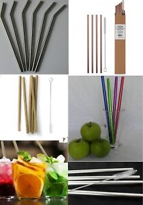 Reusable Eco Drinking Straws Straight bent Stainless steel glass bamboo  straw