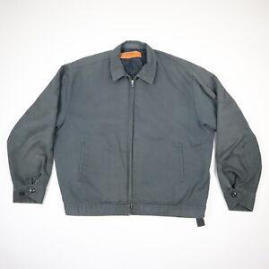 Vtg-Faded-Gray-Mechanic-Utility-Jacket-w-Talon-Zipper-Grunge-Skate-USA-LARGE