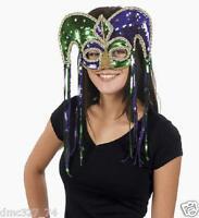1 Mardi Gras Party Costume Sequin Jester Half Mask