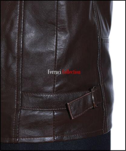 Men's Lethal uomo Real da Jacket pecora nera Sheep Racer vera di in pelle uomo Lethal Weapon Leather Brown Stripes' Giacca Retro da Weapon 'beige q6nt7