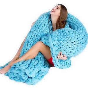 Chunky-Crochet-Knit-Wool-Blanket-Thick-Yarn-Merino-Bulky-Knitted-Warm-Throws