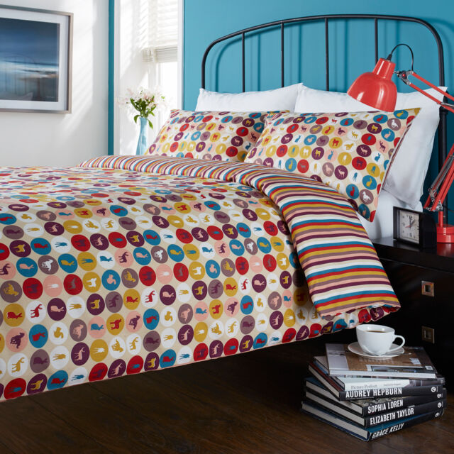 Hummingbird Cotton Reversible Duvet Quilt Cover with Pillow Case Bedding Set