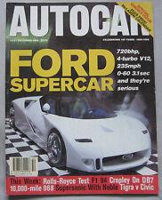Autocar 14-21/12/1994 featuring Ford GT90, Aston Martin, Rolls Royce, Porsche