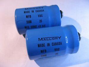 Electrolytic-Capacitor-3300uF-MFD-25VDC-85C-Mallory-CG332U25R2C-Used-QTY-2