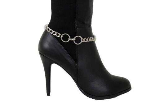 Classy Women Silver Metal Boot Chain Western Bling Shoe Bracelet 2 Ring Charms