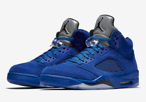 Nike-Air-Jordan-Retro-5-V-Blue-Suede-Size-9-5-14-Game-Royal-Black-136027-401