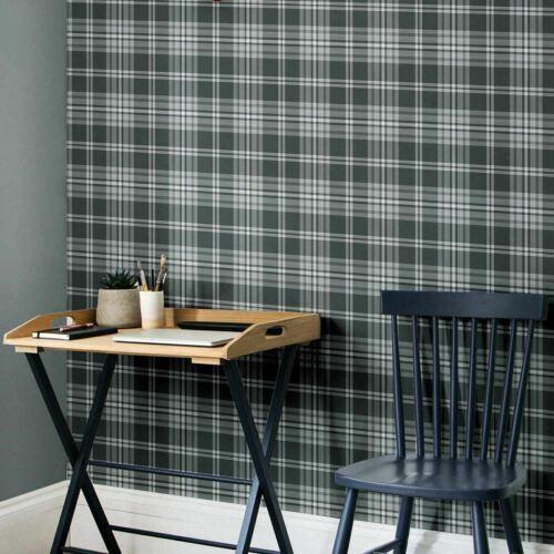 Designer Catherine Lansfield Kelso Carreaux Tartan Gris Argent Métallique Papier Peint