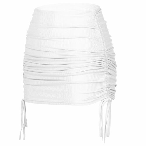 Women/'s Ribbed Side Drawstring Ruched Stretchy Mini Pencil Bodycon Short Skirt
