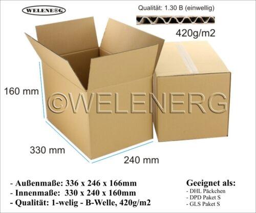 20 x 330x240x160mm B-420g//m2  Faltkartons Versandkarton Postkarton Falt Kartons