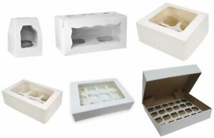White-Cupcake-Boxes-Holds-1-2-4-6-12-amp-24-Cup-Cakes-Removable-Inserts