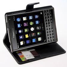 BlackBerry Passport Case Leather Card ID Pockets Slot Holder Stand Folio Black