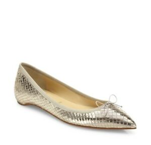 Christian-Louboutin-Solasofia-Gold-Snake-Embossed-Pointed-Toe-Flats-37-7-625-00