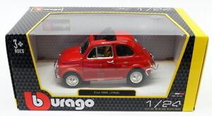BURAGO-1-24-SCALA-DIECAST-MODELLO-AUTO-18-22099-1968-FIAT-500L-Rosso
