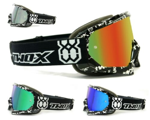 TWO-X Race Crossbrille MX Brille MTB Downhill Enduro Motocross verspiegelt Text