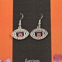 Auburn Tigers Earrings Football With Logo With Tags