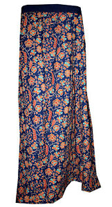 Indian-Cotton-Women-Full-Length-Skirt-Hippie-Chilli-Printed-Blue-Color-Plus-Size