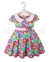 NEW Kid Toddle Baby Girl Spring Summer Flowers Dress Green Pink Size 12M-3T Z517