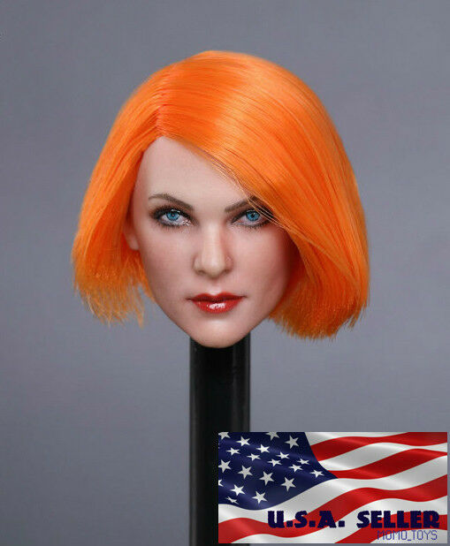 1 6 Female Head Sculpt orange Hair GC019 D For 12  PHICEN Hot Toys Figure ❶USA❶