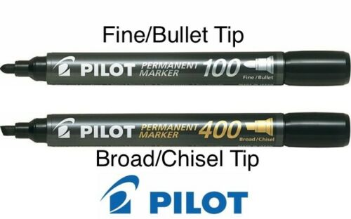 Pilot Permanent Marker-100 Bullet Fine Tip /& 400 Chisel Broad Tip BLUE /& BLACK