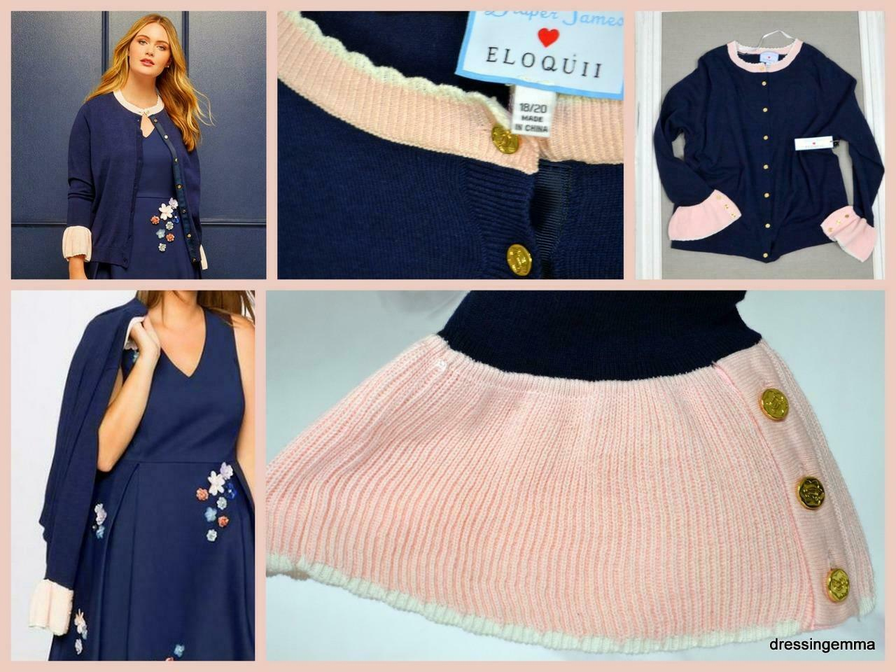 Plus 18 20 Reese Witherspoon Draper James Eloquii sctuttioped autodigan sweater neu